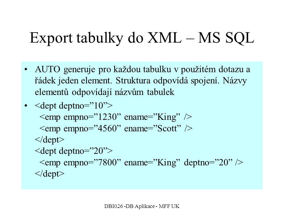 DBI026 -DB Aplikace - MFF UK Export tabulky do XML – MS SQL AUTO generuje pro každou tabulku v použitém dotazu a řádek jeden element.