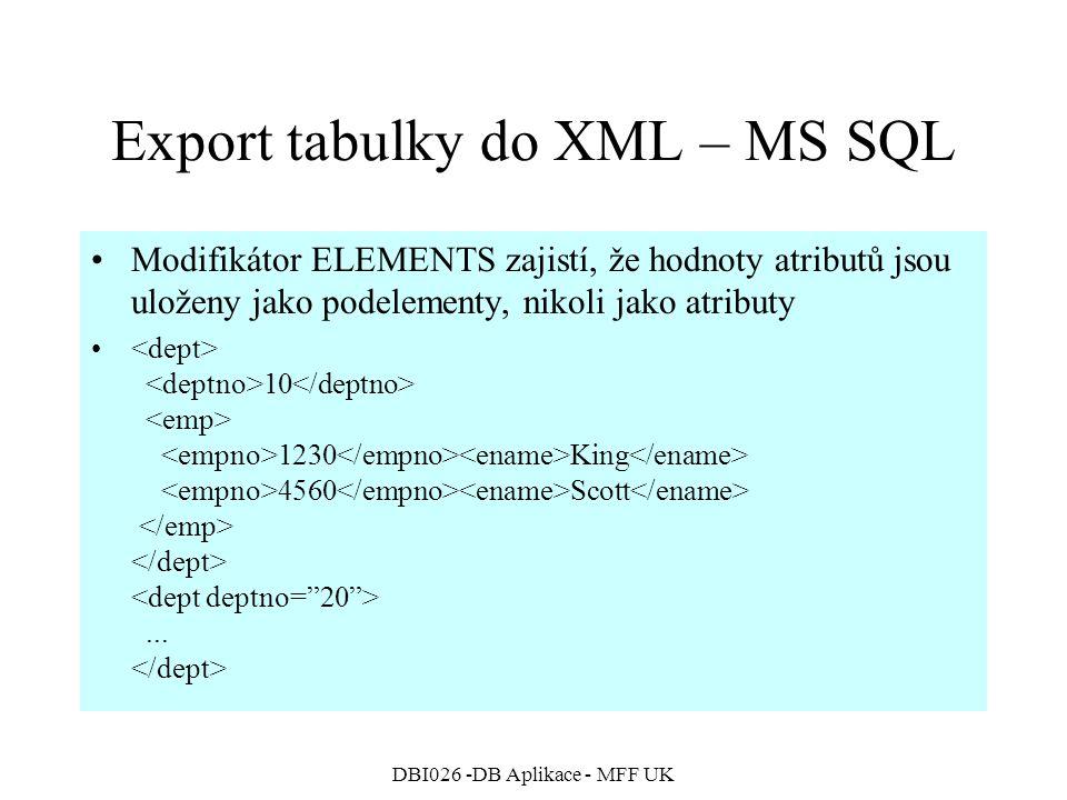 DBI026 -DB Aplikace - MFF UK Export tabulky do XML – MS SQL Modifikátor ELEMENTS zajistí, že hodnoty atributů jsou uloženy jako podelementy, nikoli jako atributy 10 1230 King 4560 Scott...