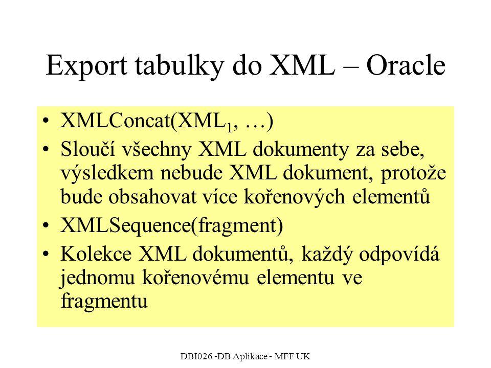 DBI026 -DB Aplikace - MFF UK Export tabulky do XML – Oracle XMLConcat(XML 1, …) Sloučí všechny XML dokumenty za sebe, výsledkem nebude XML dokument, protože bude obsahovat více kořenových elementů XMLSequence(fragment) Kolekce XML dokumentů, každý odpovídá jednomu kořenovému elementu ve fragmentu