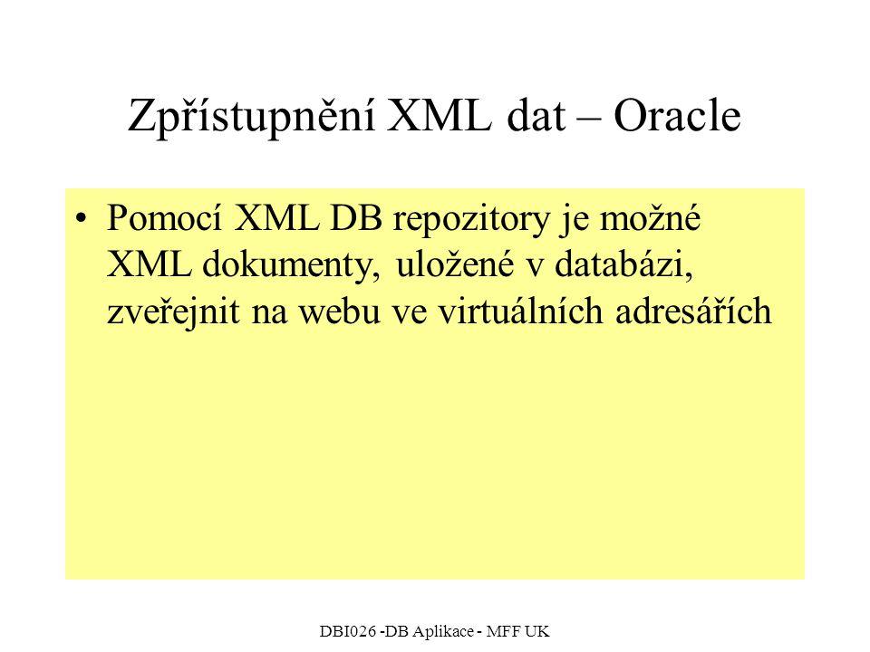 DBI026 -DB Aplikace - MFF UK Zpřístupnění XML dat – Oracle Pomocí XML DB repozitory je možné XML dokumenty, uložené v databázi, zveřejnit na webu ve v