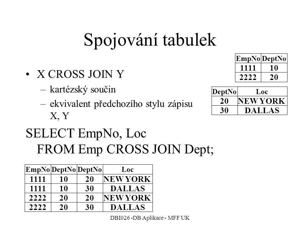 DBI026 -DB Aplikace - MFF UK Spojování tabulek X CROSS JOIN Y –kartézský součin –ekvivalent předchozího stylu zápisu X, Y SELECT EmpNo, Loc FROM Emp C
