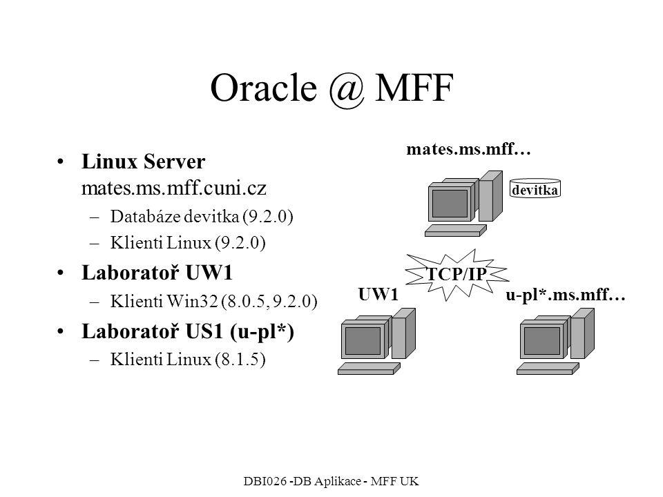 DBI026 -DB Aplikace - MFF UK Oracle @ MFF Linux Server mates.ms.mff.cuni.cz –Databáze devitka (9.2.0) –Klienti Linux (9.2.0) Laboratoř UW1 –Klienti Wi