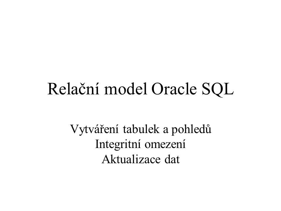 Relační model Oracle SQL Vytváření tabulek a pohledů Integritní omezení Aktualizace dat