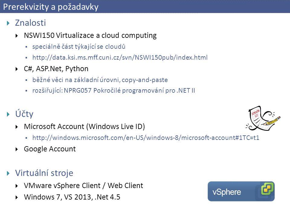 Create Web Site  E1: Creating a Windows Azure Web Site (with Visual Studio)  Connect to Azure  [1-3] View / Server Explorer / Windows Azure / [RMB] Connect to WA / … login   Create Site – se studentskými licencemi nefunkční.