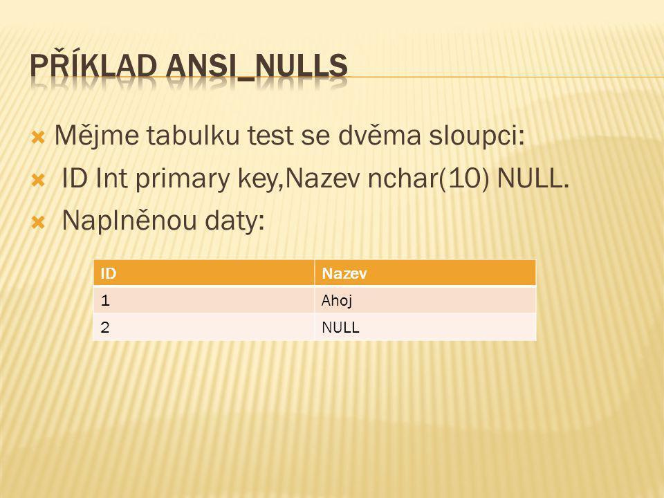  Mějme tabulku test se dvěma sloupci:  ID Int primary key,Nazev nchar(10) NULL.  Naplněnou daty: IDNazev 1Ahoj 2NULL