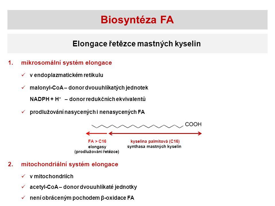 Biosyntéza FA Elongace řetězce mastných kyselin mikrosomální systém elongace1. v endoplazmatickém retikulu malonyl-CoA – donor dvouuhlíkatých jednotek