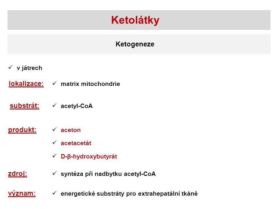 v játrech lokalizace: matrix mitochondrie substrát: acetyl-CoA produkt: aceton acetacetát Ketolátky Ketogeneze D-β-hydroxybutyrát zdroj: syntéza při n