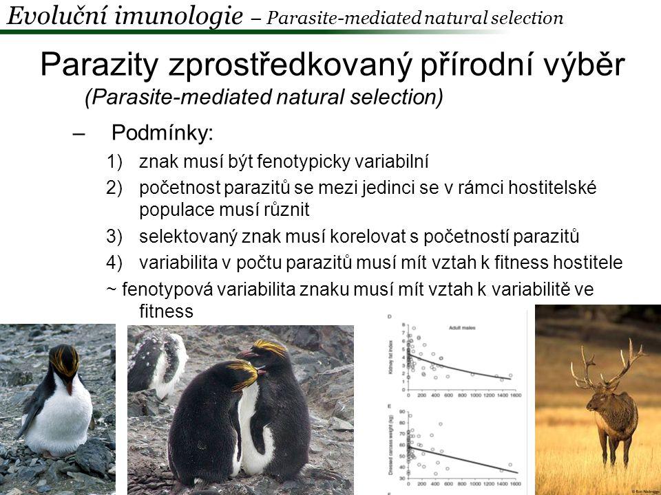 """Červená královna -pohlavní rozmnožování -koevoluce hostitele a parazita = """"závody ve zbrojení -mutace: nesynonymní substituce, duplikace genů, rekombinace, exprese -změny frekvencí alel -závod bez cíle Evoluční imunologie – Parasite-mediated natural selection"""