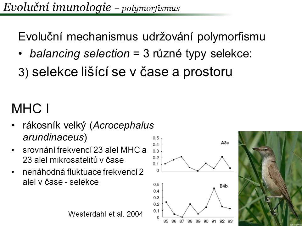 Evoluční imunologie – polymorfismus Balancing selection a srpková anemie + malárie - kombinace: 1.výhoda heterozygotů 2.frequenčně-závislá selekce 3.selekce lišící se v čase a prostoru hemoglobin - substituce v genu pro β-globin – S, SC aj
