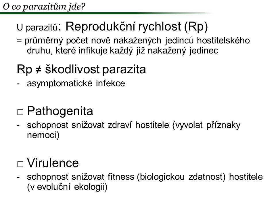 Maximalizace Rp = optimalizace rychlosti množení, patogenity a virulence O co parazitům jde?