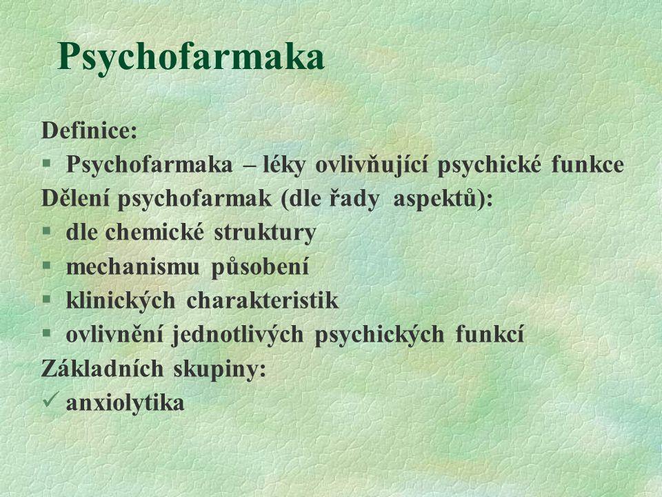 Psychofarmaka Definice: §Psychofarmaka – léky ovlivňující psychické funkce Dělení psychofarmak (dle řady aspektů):  dle chemické struktury  mechanis