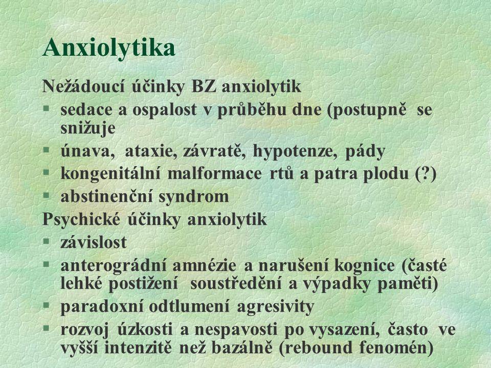 Anxiolytika Nežádoucí účinky BZ anxiolytik §sedace a ospalost v průběhu dne (postupně se snižuje §únava, ataxie, závratě, hypotenze, pády §kongenitáln