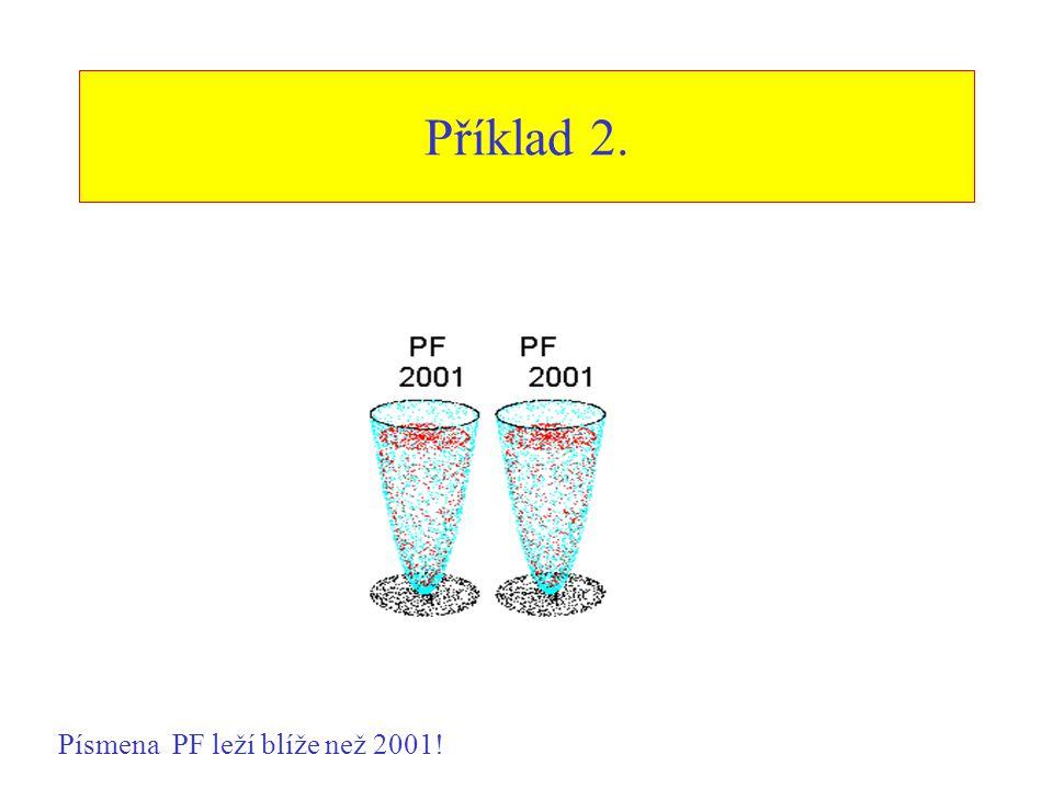 Příklad 2. Písmena PF leží blíže než 2001!