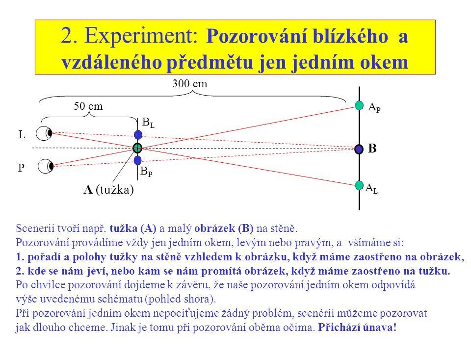 2. Experiment: Pozorování blízkého a vzdáleného předmětu jen jedním okem L P 50 cm 300 cm A (tužka) B APAP ALAL BPBP BLBL Scenerii tvoří např. tužka (