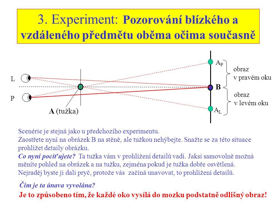 3. Experiment: Pozorování blízkého a vzdáleného předmětu oběma očima současně L P A (tužka) B APAP ALAL obraz v pravém oku obraz v levém oku Scenérie