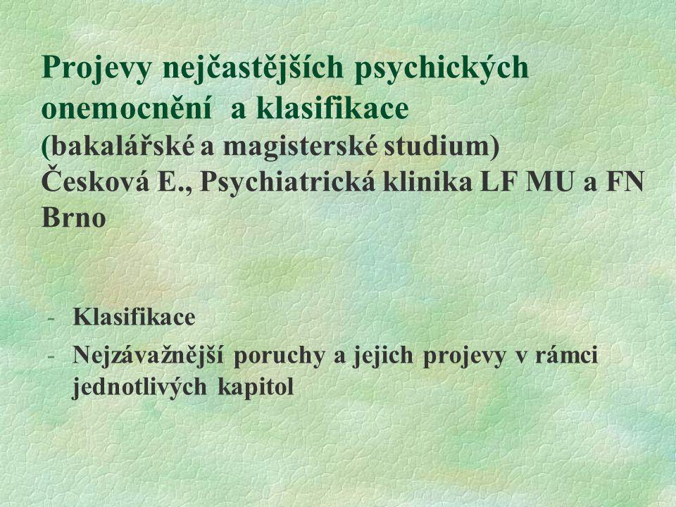 Projevy nejčastějších psychických onemocnění a klasifikace (bakalářské a magisterské studium) Česková E., Psychiatrická klinika LF MU a FN Brno -Klasi