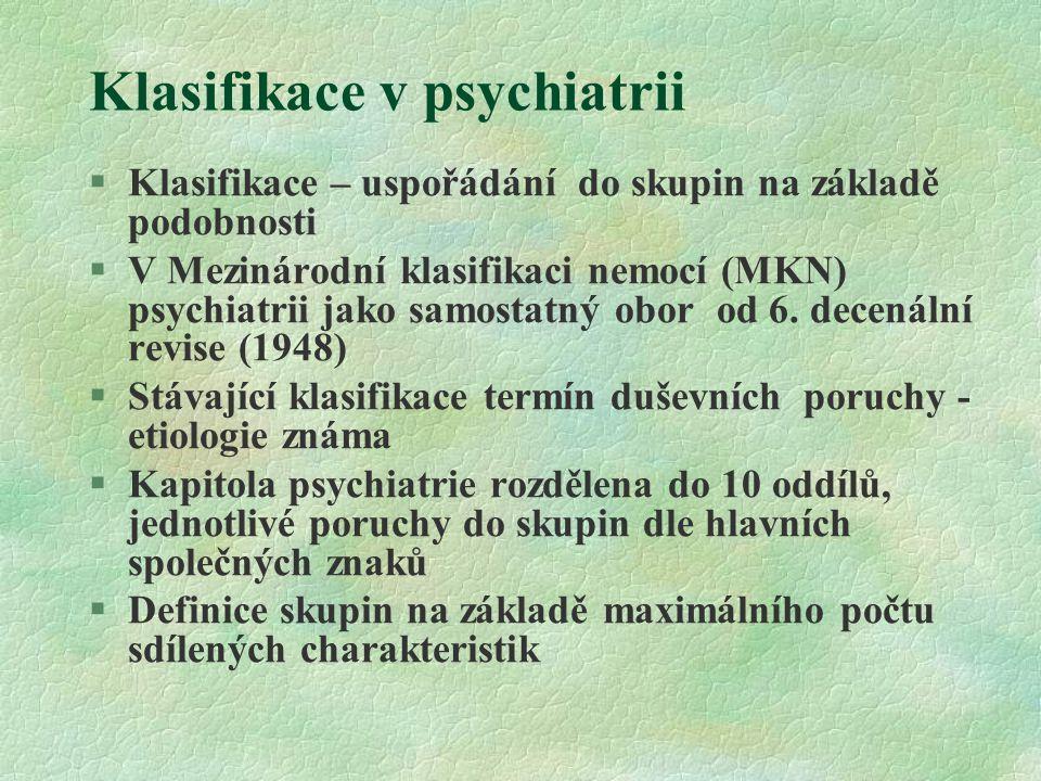Klasifikace v psychiatrii §Klasifikace – uspořádání do skupin na základě podobnosti §V Mezinárodní klasifikaci nemocí (MKN) psychiatrii jako samostatn