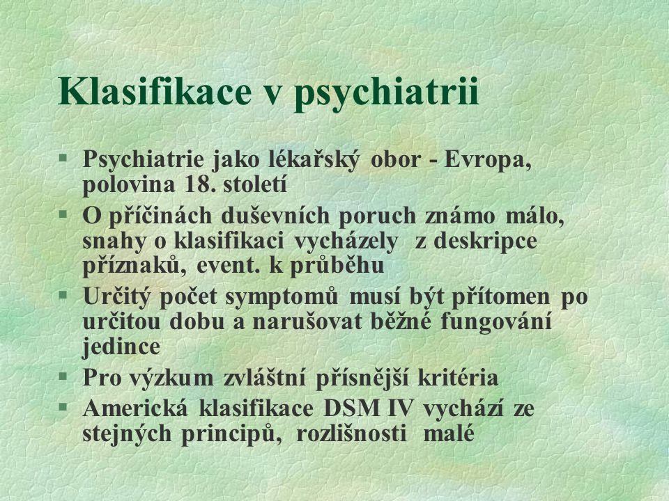 Klasifikace v psychiatrii §Psychiatrie jako lékařský obor - Evropa, polovina 18. století §O příčinách duševních poruch známo málo, snahy o klasifikaci