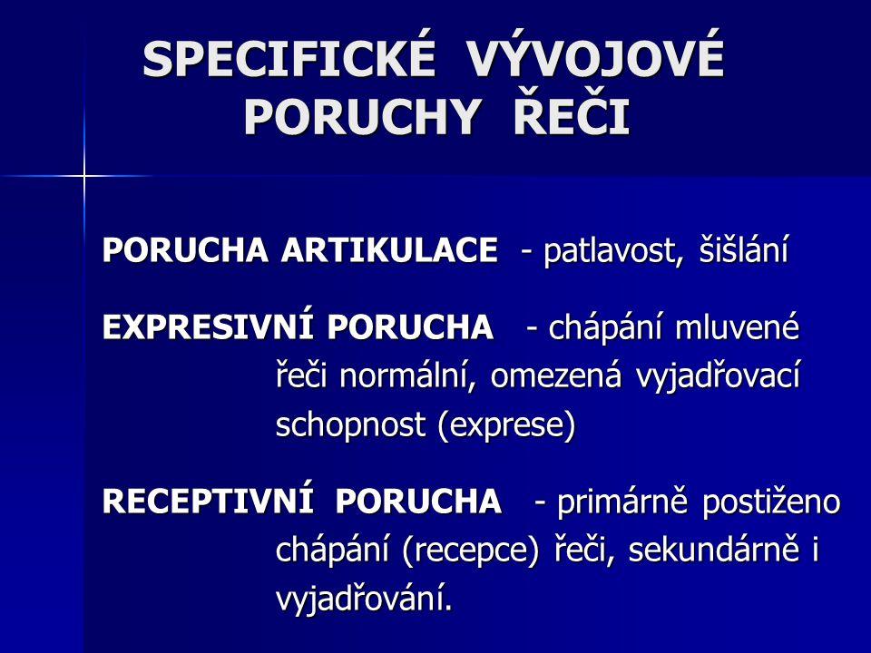 PORUCHA ARTIKULACE - patlavost, šišlání EXPRESIVNÍ PORUCHA - chápání mluvené řeči normální, omezená vyjadřovací schopnost (exprese) RECEPTIVNÍ PORUCHA
