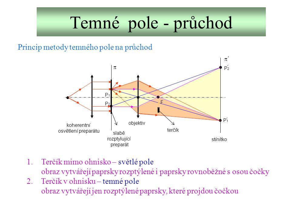 Temné pole - průchod F P1P1 P2P2 P2P2 P1P1   slabě rozptylující preparát objektiv terčík stínítko koherentní osvětlení preparátu Princip metody temn