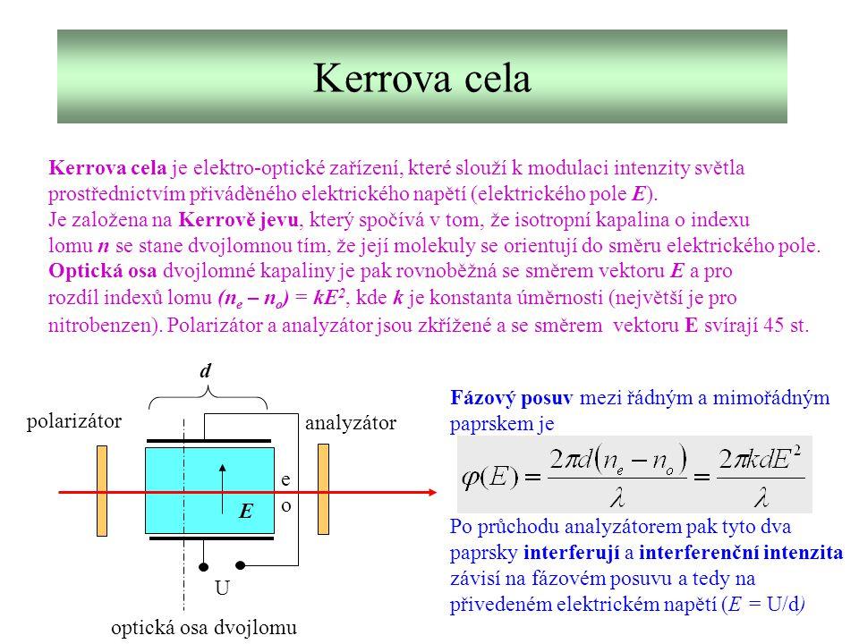 Kerrova cela Kerrova cela je elektro-optické zařízení, které slouží k modulaci intenzity světla prostřednictvím přiváděného elektrického napětí (elekt