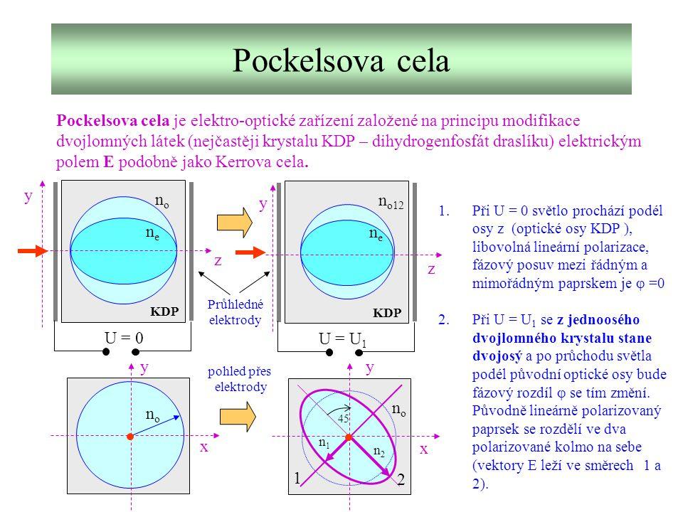 Pockelsova cela Pockelsova cela je elektro-optické zařízení založené na principu modifikace dvojlomných látek (nejčastěji krystalu KDP – dihydrogenfos
