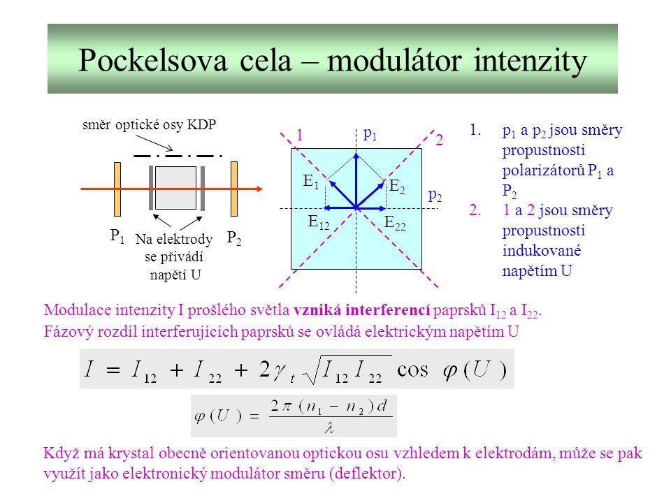 Pockelsova cela – modulátor intenzity směr optické osy KDP Na elektrody se přivádí napětí U P1P1 P2P2 p1p1 p2p2 1 2 E1E1 E2E2 E 22 E 12 Modulace inten