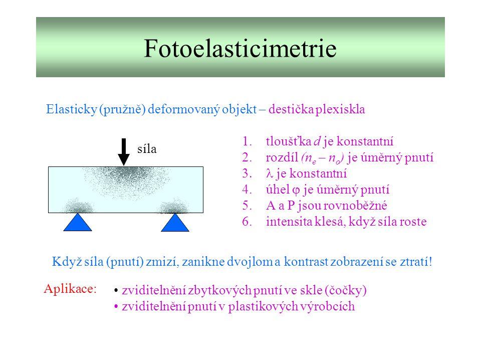 Fotoelasticimetrie Elasticky (pružně) deformovaný objekt – destička plexiskla síla 1.tloušťka d je konstantní 2.rozdíl (n e – n o ) je úměrný pnutí 