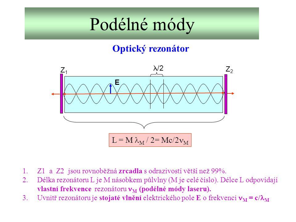 Optické rezonátory Planparalelní: r 1 = r 2 = S 1 =S 2 r2r2 r1r1 F 1 =F 2 r Koncentrické: r 1 = r 2 = L/2 L Konfokální: r 1 = r 2 = r = L/4 Hemisférické: r 1 = L, r 2 = r1r1 S2S2 S1S1 S1S1 Kvalita rezonátoru je určována především odrazivostí zrcadel.