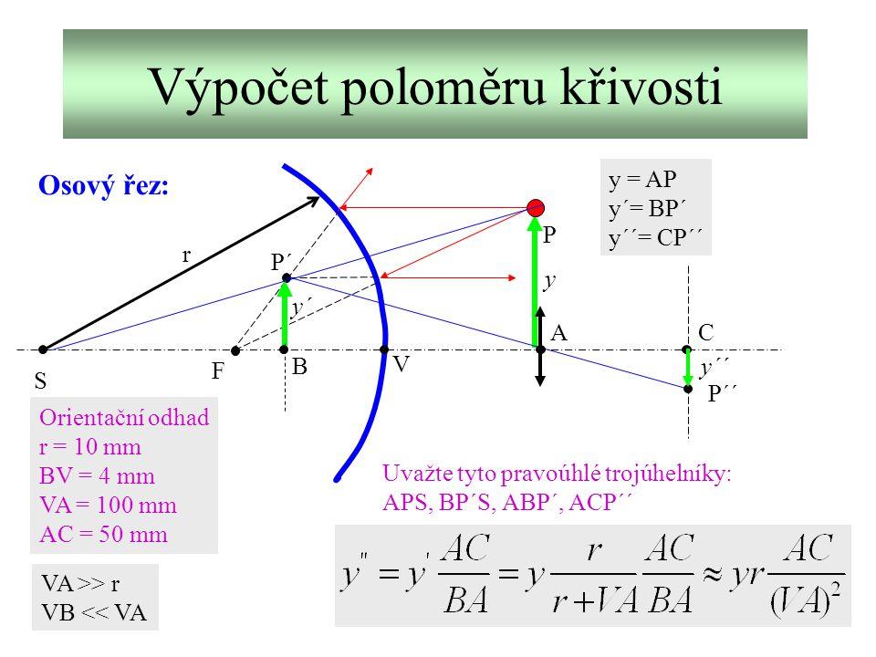 Výpočet poloměru křivosti S F P P´ P´´ r A B C Orientační odhad r = 10 mm BV = 4 mm VA = 100 mm AC = 50 mm V y = AP y´= BP´ y´´= CP´´ y´´ y´ y Uvažte