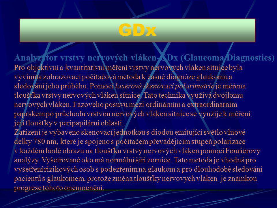 GDx Analyzátor vrstvy nervových vláken-GDx (Glaucoma Diagnostics) Pro objektivní a kvantitativní měření vrstvy nervových vláken sítnice byla vyvinuta