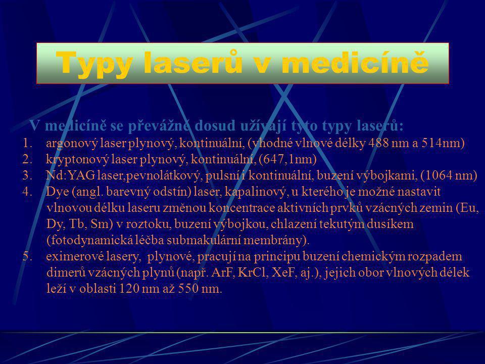 Typy laserů v medicíně V medicíně se převážně dosud užívají tyto typy laserů: 1. argonový laser plynový, kontinuální, (vhodné vlnové délky 488 nm a 51