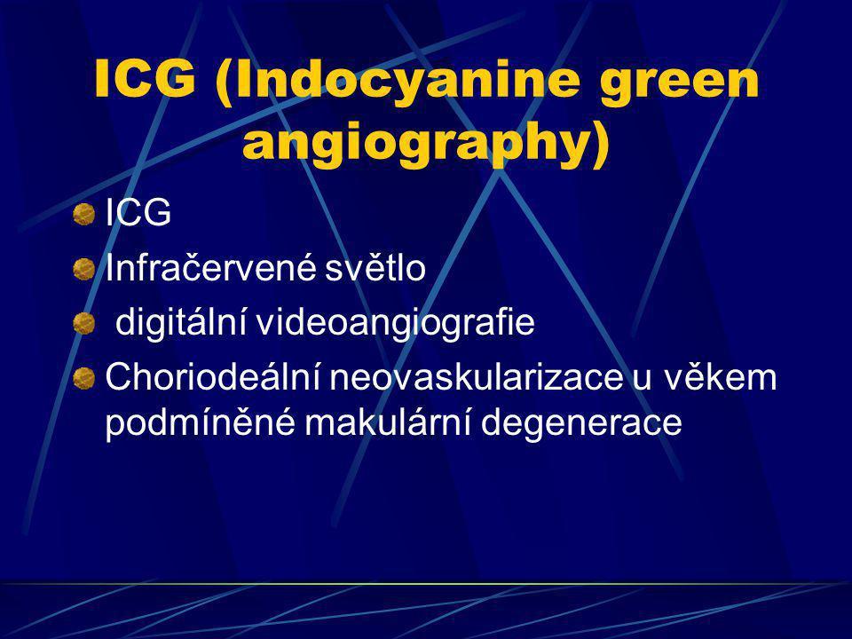 ICG (Indocyanine green angiography) ICG Infračervené světlo digitální videoangiografie Choriodeální neovaskularizace u věkem podmíněné makulární degen