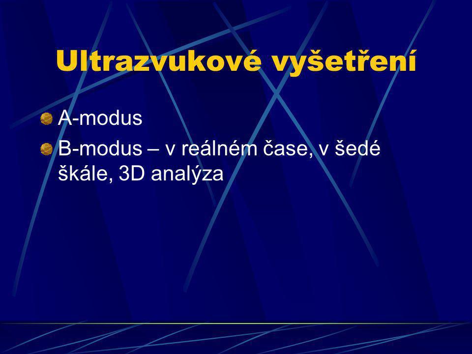 Ultrazvukové vyšetření A-modus B-modus – v reálném čase, v šedé škále, 3D analýza