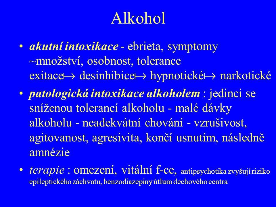 Alkohol akutní intoxikace - ebrieta, symptomy ~množství, osobnost, tolerance exitace  desinhibice  hypnotické  narkotické patologická intoxikace al