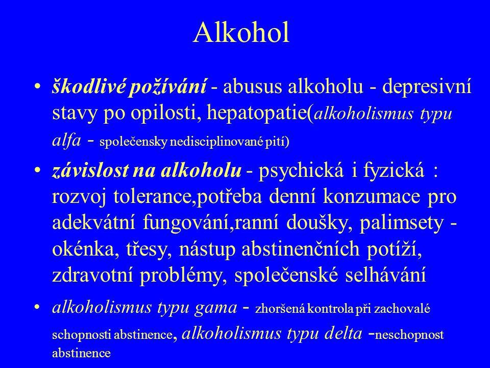 Alkohol škodlivé požívání - abusus alkoholu - depresivní stavy po opilosti, hepatopatie( alkoholismus typu alfa - společensky nedisciplinované pití) z