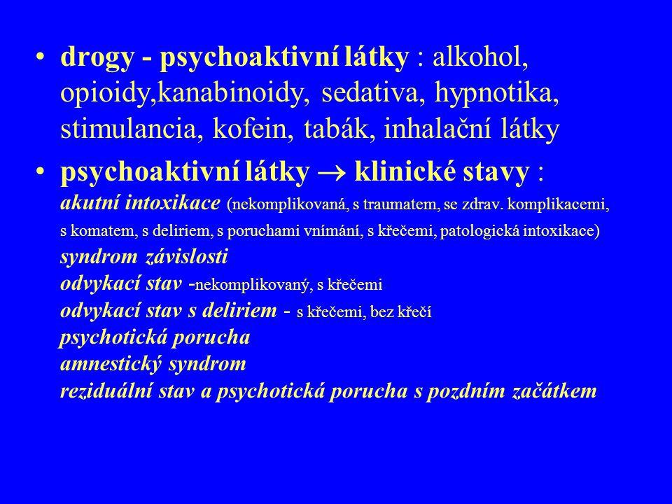 drogy - psychoaktivní látky : alkohol, opioidy,kanabinoidy, sedativa, hypnotika, stimulancia, kofein, tabák, inhalační látky psychoaktivní látky  kli