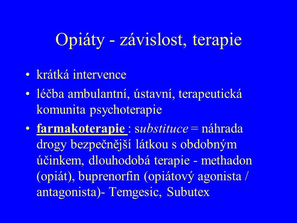 Opiáty - závislost, terapie krátká intervence léčba ambulantní, ústavní, terapeutická komunita psychoterapie farmakoterapie : substituce = náhrada dro