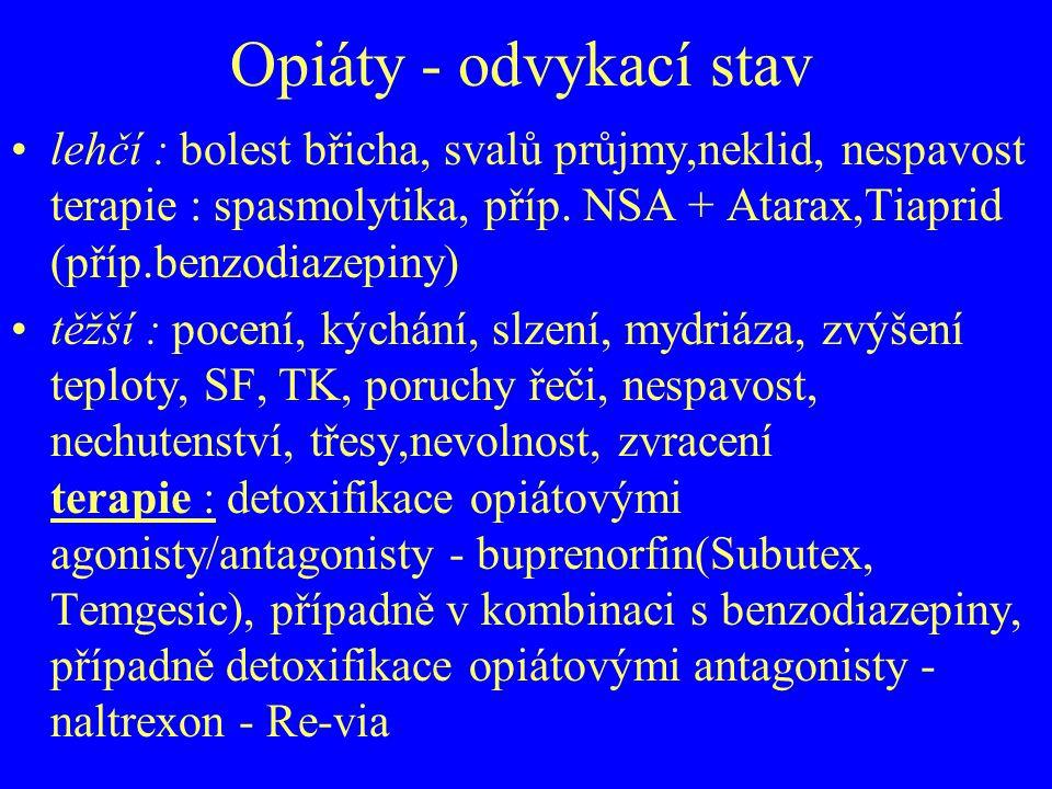 Opiáty - odvykací stav lehčí : bolest břicha, svalů průjmy,neklid, nespavost terapie : spasmolytika, příp. NSA + Atarax,Tiaprid (příp.benzodiazepiny)