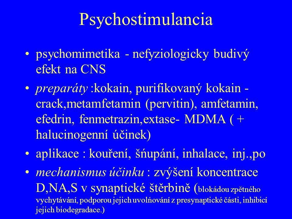 Psychostimulancia psychomimetika - nefyziologicky budivý efekt na CNS preparáty :kokain, purifikovaný kokain - crack,metamfetamin (pervitin), amfetami
