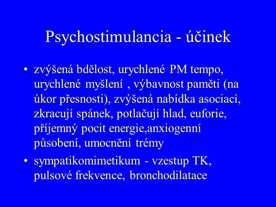 Psychostimulancia - účinek zvýšená bdělost, urychlené PM tempo, urychlené myšlení, výbavnost paměti (na úkor přesnosti), zvýšená nabídka asociací, zkr
