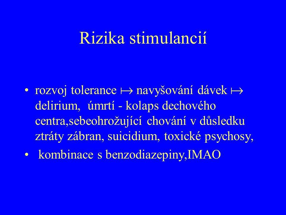 Rizika stimulancií rozvoj tolerance  navyšování dávek  delirium, úmrtí - kolaps dechového centra,sebeohrožující chování v důsledku ztráty zábran, su