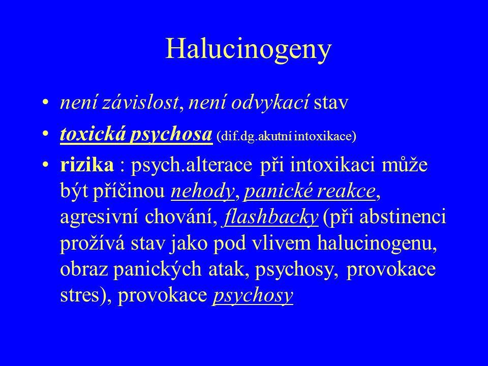 Halucinogeny není závislost, není odvykací stav toxická psychosa (dif.dg.akutní intoxikace) rizika : psych.alterace při intoxikaci může být příčinou n