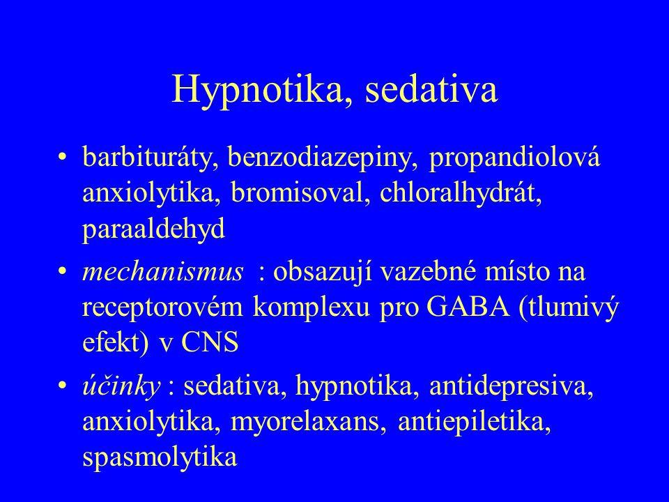Hypnotika, sedativa barbituráty, benzodiazepiny, propandiolová anxiolytika, bromisoval, chloralhydrát, paraaldehyd mechanismus : obsazují vazebné míst
