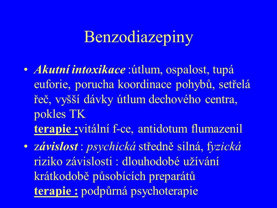 Benzodiazepiny Akutní intoxikace :útlum, ospalost, tupá euforie, porucha koordinace pohybů, setřelá řeč, vyšší dávky útlum dechového centra, pokles TK