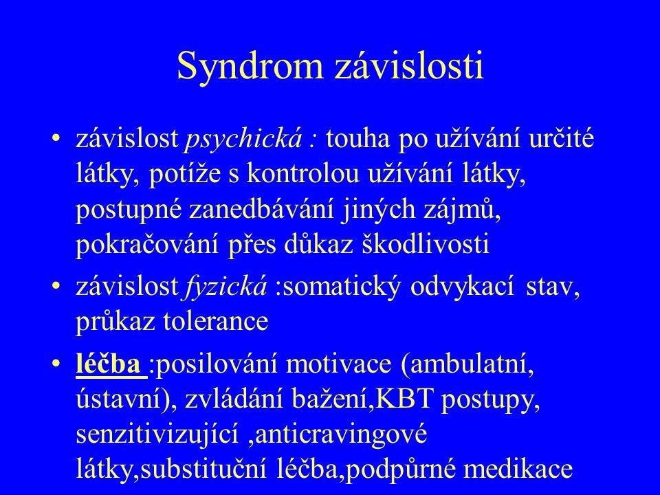 Syndrom závislosti závislost psychická : touha po užívání určité látky, potíže s kontrolou užívání látky, postupné zanedbávání jiných zájmů, pokračová
