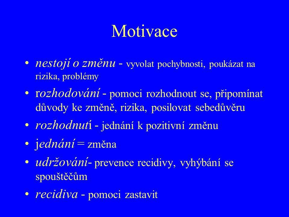 Motivace nestojí o změnu - vyvolat pochybnosti, poukázat na rizika, problémy rozhodování - pomoci rozhodnout se, připomínat důvody ke změně, rizika, p