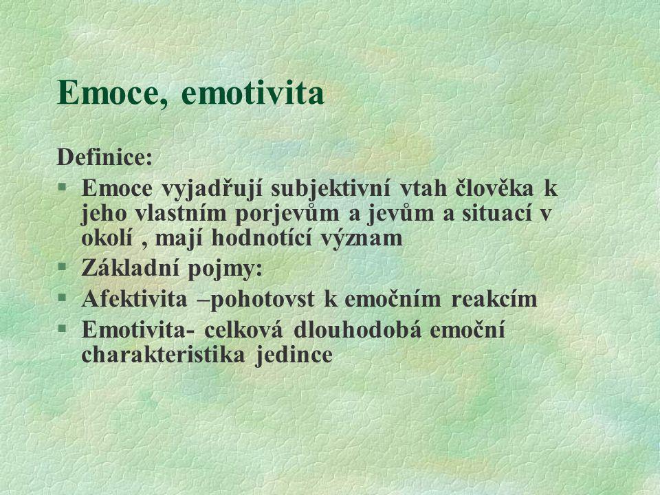 Emoce, emotivita Definice: §Emoce vyjadřují subjektivní vtah člověka k jeho vlastním porjevům a jevům a situací v okolí, mají hodnotící význam §Základ