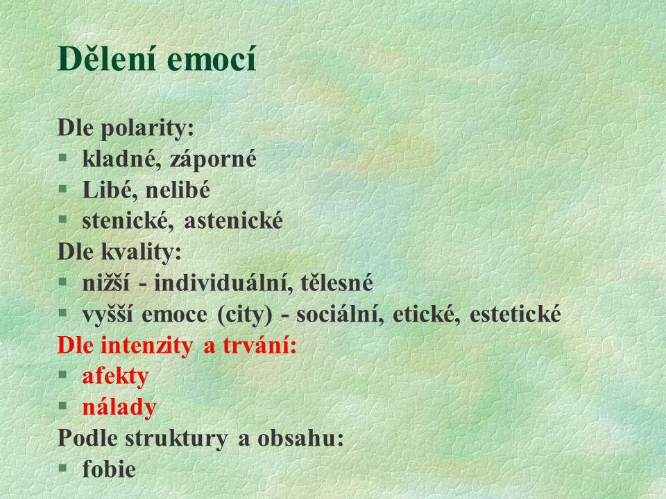 Dělení emocí Dle polarity: §kladné, záporné §Libé, nelibé §stenické, astenické Dle kvality: §nižší - individuální, tělesné §vyšší emoce (city) - sociá