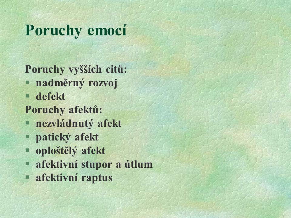 Poruchy emocí Poruchy vyšších citů: §nadměrný rozvoj §defekt Poruchy afektů: §nezvládnutý afekt §patický afekt §oploštělý afekt §afektivní stupor a út